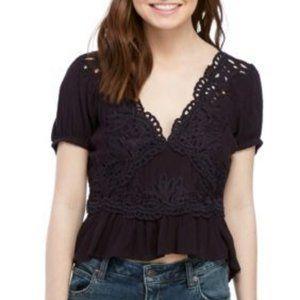 NWT Free People Sweet Roses Navy Crochet Short Sleeve Top XS